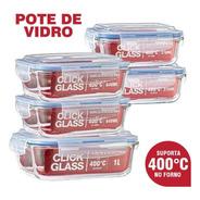 Kit 5 Potes De Vidro 100% Herméticos Qualidade Click Glass