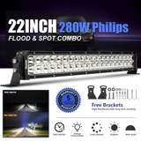 Barra Led 6d 280w 22 Pulgadas Led Philips Jeep,atv,rzr