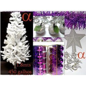 Árvore De Natal Branca Canadense 1,8m 450g +106enfeites.alfa