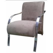 Cadeira Decorativa Sala Recepção Braço Cromado Frete Gratis