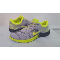 Zapato Deportivo Nike Free Gris Con Verde Damas