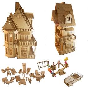 Casa Casinha Boneca Polly Mdf 27 Móveis,parque E Carro_cc1