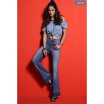 Calça Flare Jeans Feminina Cós Alto Promoção Outono Inverno