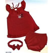 Vestido De Niña Rojo Con Cintillo Pantaleta Ropa Bebe 3pza S