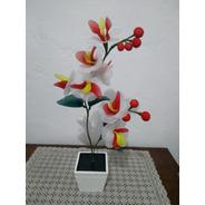 Arranjo Vaso Madeira Branco Orquídea Várias Cores Artificial