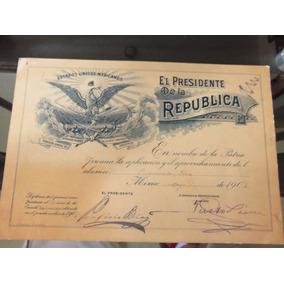 Documento Antiguo Porfirio Diaz Premio A La Aplicacion 1908