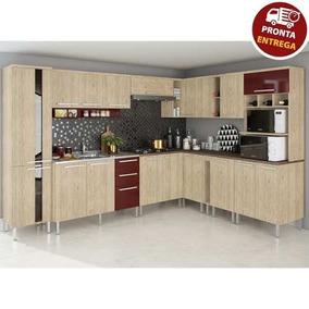 Cozinha Completa Modulada 12 Peças Mac - Carvalho/bordo