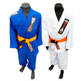 Kimono Infantil Reforçado Jiujitsu, Judo,branco,azul + Faixa
