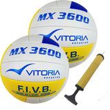 3fbde138bb Bola Volei Oficial Vitoria Mx3600 Pu Soft 2 Unidades + Bomba