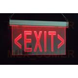 Letrero Luminoso Led Rojo Exit Acrílico Grabado