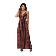 Vestido Kinara Longo Crepe Bojo Listrado Cordão Rosa