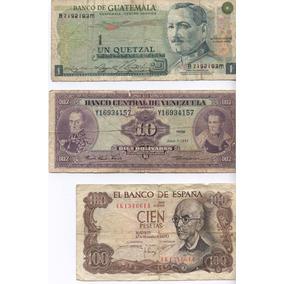 Lote De 3 Billetes Antiguos Extranjeros
