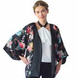 Kimono Blusa Ropa Mujer Rack & Pack Negro Floreado Unitalla