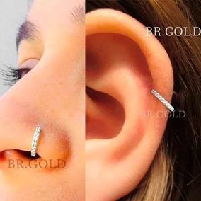 Piercing De Orelha Nariz Cartilagem Argola Prata C/ Pedras