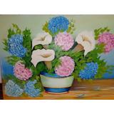 Quadro Pintura A Óleo + Moldura Flores Copo De Leite 50 X 80