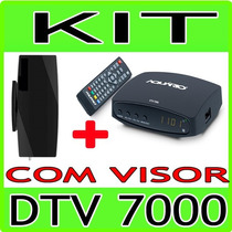 Kit Conversor Tv Digital Dtv7000 Aquario + Antena Interna