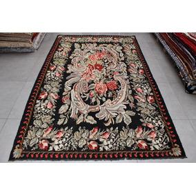 Tapete Kilim Feito À Mão Turquia Floral Aubusson 2,10x3,38m