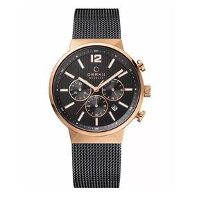 Reloj Obaku V180gcvb Crono Acero Pavonado Oro Rosa Caballero