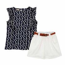 Conjunto Luxo Infantil Menina Com Shorts E Blusa De Chifon