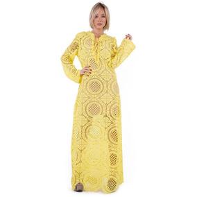 Vestido Amarelo Longo De Renda