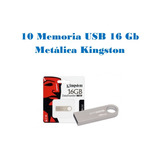 Lote/paquete 10 Memoria Usb 16 Gb Metálica Kingston Pc,mac