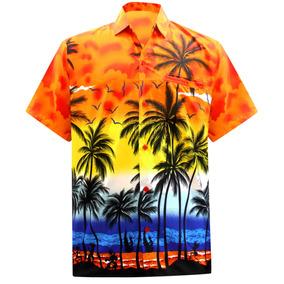 La Leela Naranja Aloha Camisa Hawaiana Hombres