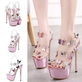 Zapatillas Mariposas Rosa Metalico/plateado/transparente