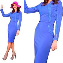 Vestido Azul Social Tubinho Manga Longa Moda Evangélica