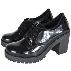 Sapato Feminino Oxford Preto Cano Baixo