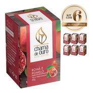 6 Velas Perfumadas Aromáticas Aroma De Romã & Pomelo 60g
