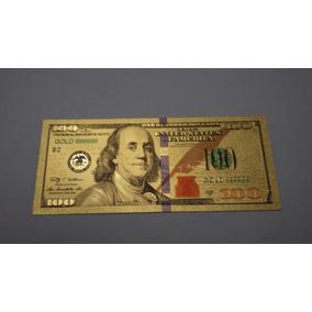 Nota 100 Dollar Gold Dourada Sorte Pvc Colecionado Linda