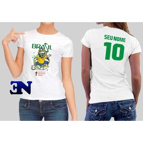 Camiseta Copa Do Mundo Mascote Brasil 2018 Rússia Feminina