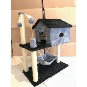 Arranhador De Gato Com Casa Rede Cinza / Preto Grande Alto
