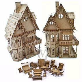 Casinha Boneca Polly Grande Mdf + 28 Móveis Clássicos Casa