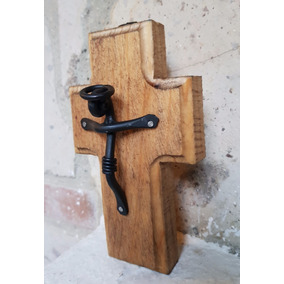 Cruz Cristo Madera Hierro Forjado Artesania Mexicana