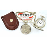 Reloj De Bolsillo Ornet Con Cadena Y Estuche Para Cinto