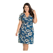 Vestido Moda Evangélica Plus Size Midi  Florido Feminino