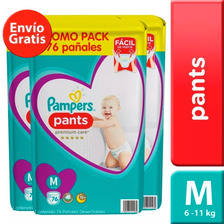 3 Paquetes Pañales Pampers Pants Premium Care 228u Talla M