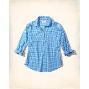 Camisa Feminina Hollister Azul Branca Quadriculada Importada