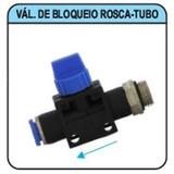 Conexão Pneumática Válvula Bloqueio 8mm X 1/4 Rosca - Tubo