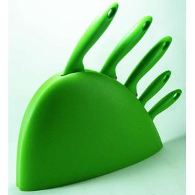 Jogo De Facas Cor Verde 5 Peças Inox + Suporte Plastico