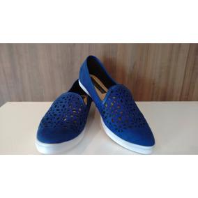 Sapato Feminino Beira Rio Conforto Azul 35 Slip On - Casual