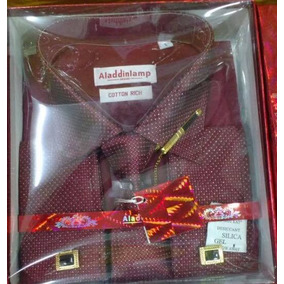 Camisa Social Punho Duplo Aladin C Abotoadura E Gravata