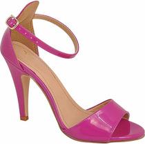 Sandalia Feminina Salto Alto Fino Festa Pink Verniz