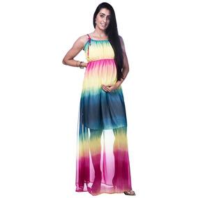Roupa Para Gestante Vestido Longo Gravida Chiffon Lindo 2732