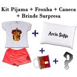 Kit Pijama + Fronha + Caneca Harry Potter Grifinoria #02