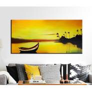 Quadro Pintura Tela Por Do Sol Barco Mar 80x180 Cm