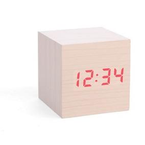 Kikkerland Reloj Con Alarma Cubo Despertador Color Madera