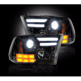 Faros Pick Up Ram Con Tubo De Led 2009-2013 (precio X Par)