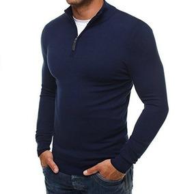 Los Hombres Suéter De Punto Con Troyer Collar De Nueva Jers